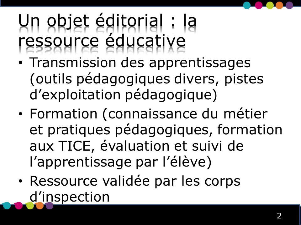 2 2 Transmission des apprentissages (outils pédagogiques divers, pistes dexploitation pédagogique) Formation (connaissance du métier et pratiques péda