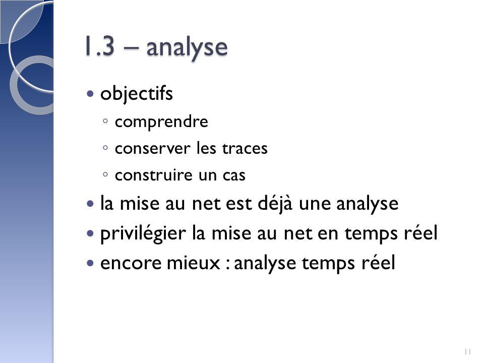 1.3 – analyse objectifs comprendre conserver les traces construire un cas la mise au net est déjà une analyse privilégier la mise au net en temps réel encore mieux : analyse temps réel 11