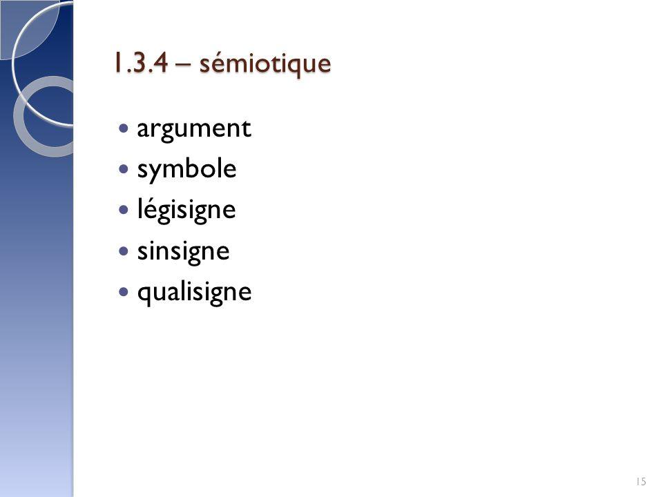1.3.4 – sémiotique argument symbole légisigne sinsigne qualisigne 15