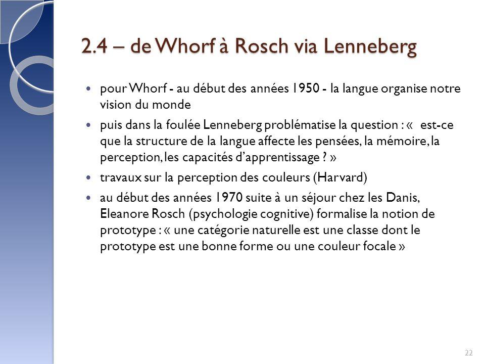 2.4 – de Whorf à Rosch via Lenneberg pour Whorf - au début des années 1950 - la langue organise notre vision du monde puis dans la foulée Lenneberg problématise la question : « est-ce que la structure de la langue affecte les pensées, la mémoire, la perception, les capacités dapprentissage .