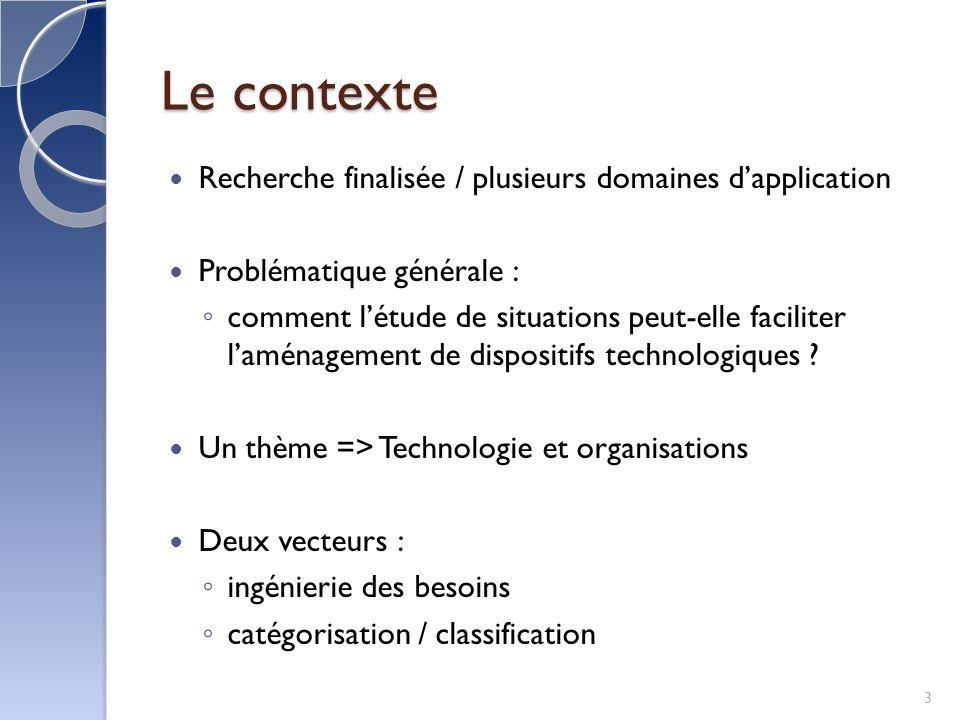 Le contexte Recherche finalisée / plusieurs domaines dapplication Problématique générale : comment létude de situations peut-elle faciliter laménagement de dispositifs technologiques .