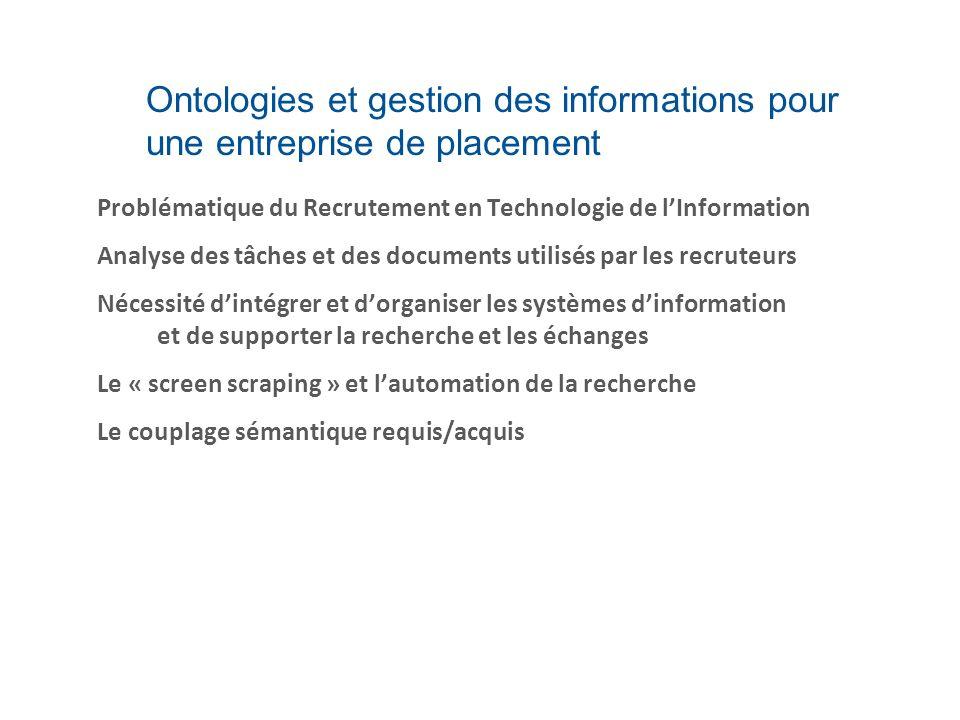 Ontologies et gestion des informations pour une entreprise de placement Problématique du Recrutement en Technologie de lInformation Analyse des tâches