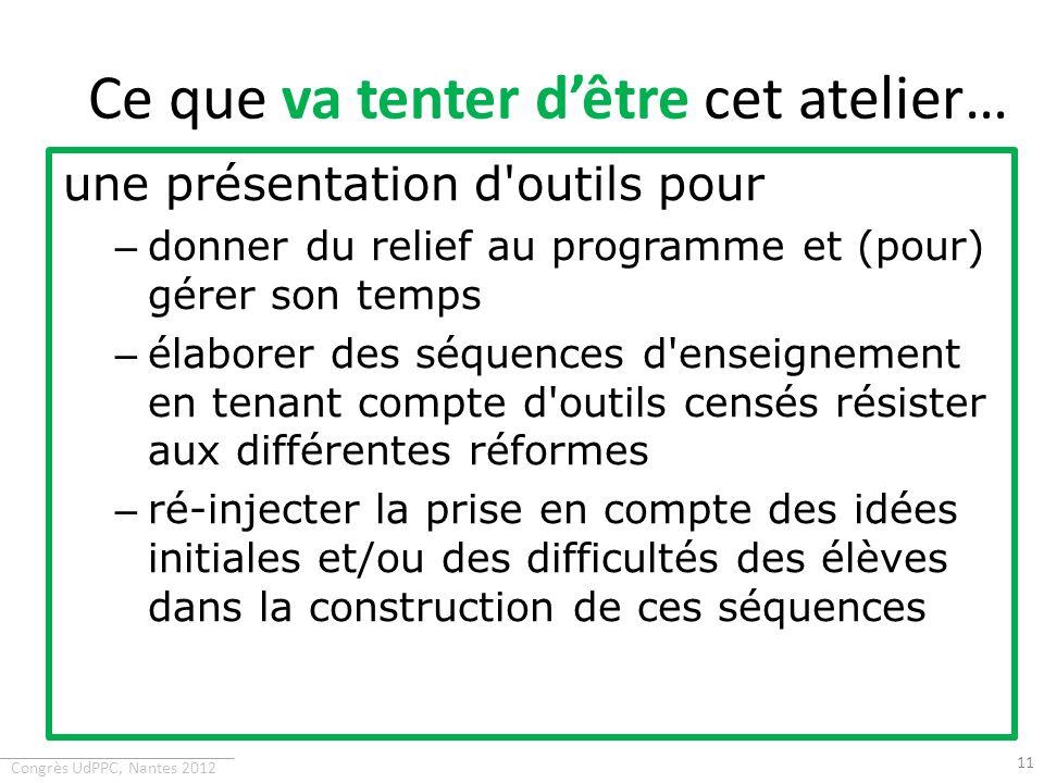 Congrès UdPPC, Nantes 2012 Ce que va tenter dêtre cet atelier… une présentation d'outils pour – donner du relief au programme et (pour) gérer son temp