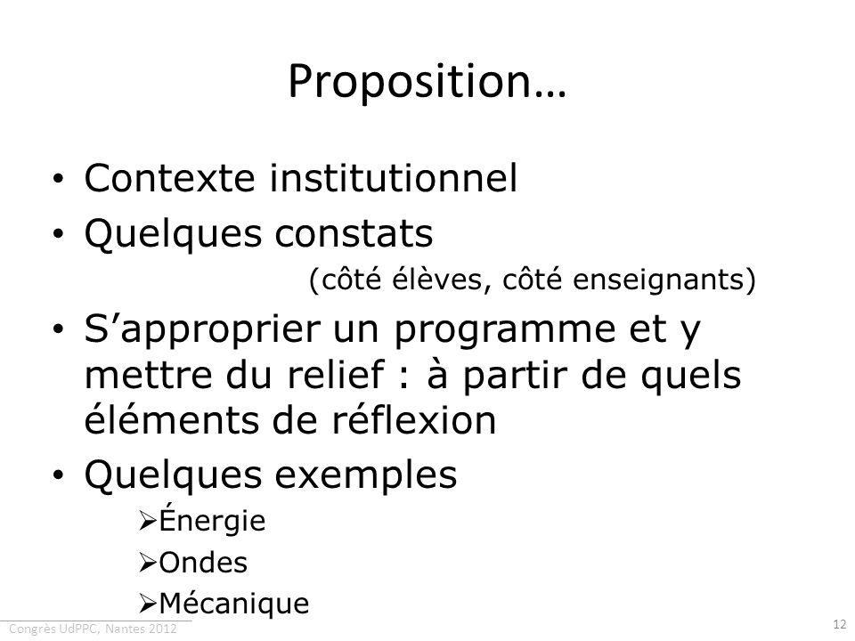 Congrès UdPPC, Nantes 2012 Proposition… Contexte institutionnel Quelques constats (côté élèves, côté enseignants) Sapproprier un programme et y mettre