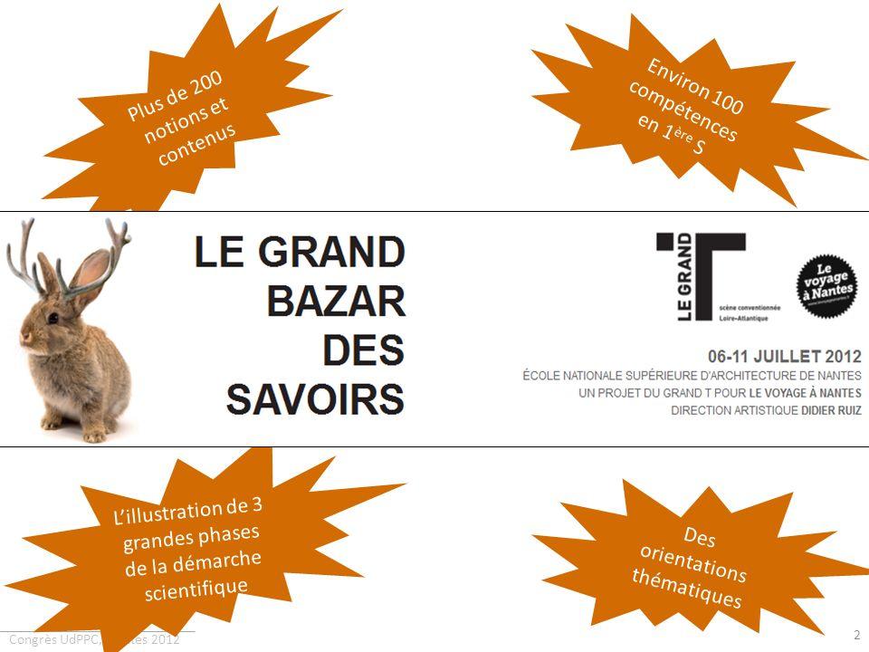 Congrès UdPPC, Nantes 2012 2 Plus de 200 notions et contenus 118 compétences en TS Des orientations thématiques Environ 100 compétences en 1 ère S 11