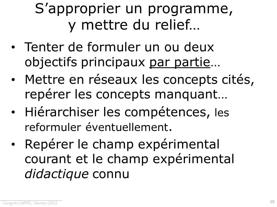 Congrès UdPPC, Nantes 2012 Sapproprier un programme, y mettre du relief… Tenter de formuler un ou deux objectifs principaux par partie… Mettre en rése