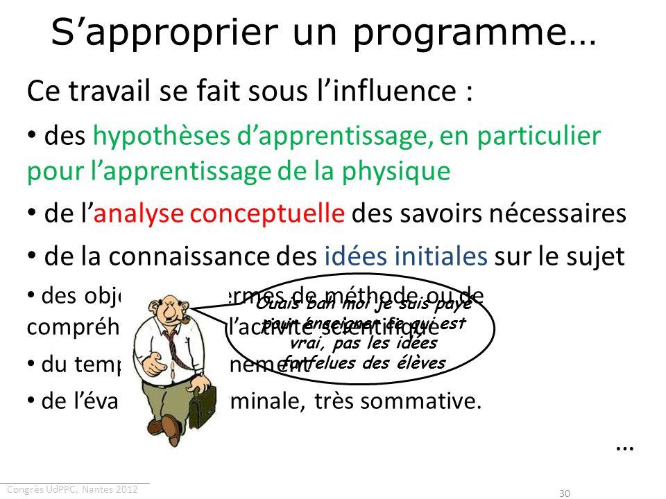 Congrès UdPPC, Nantes 2012 Sapproprier un programme… Ce travail se fait sous linfluence : des hypothèses dapprentissage, en particulier pour lapprenti