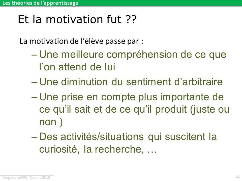 Congrès UdPPC, Nantes 2012 La motivation de lélève passe par : –Une meilleure compréhension de ce que lon attend de lui –Une diminution du sentiment d