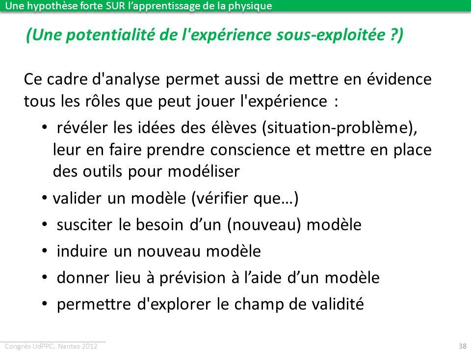 Congrès UdPPC, Nantes 2012 (Une potentialité de l'expérience sous-exploitée ?) 38 Ce cadre d'analyse permet aussi de mettre en évidence tous les rôles