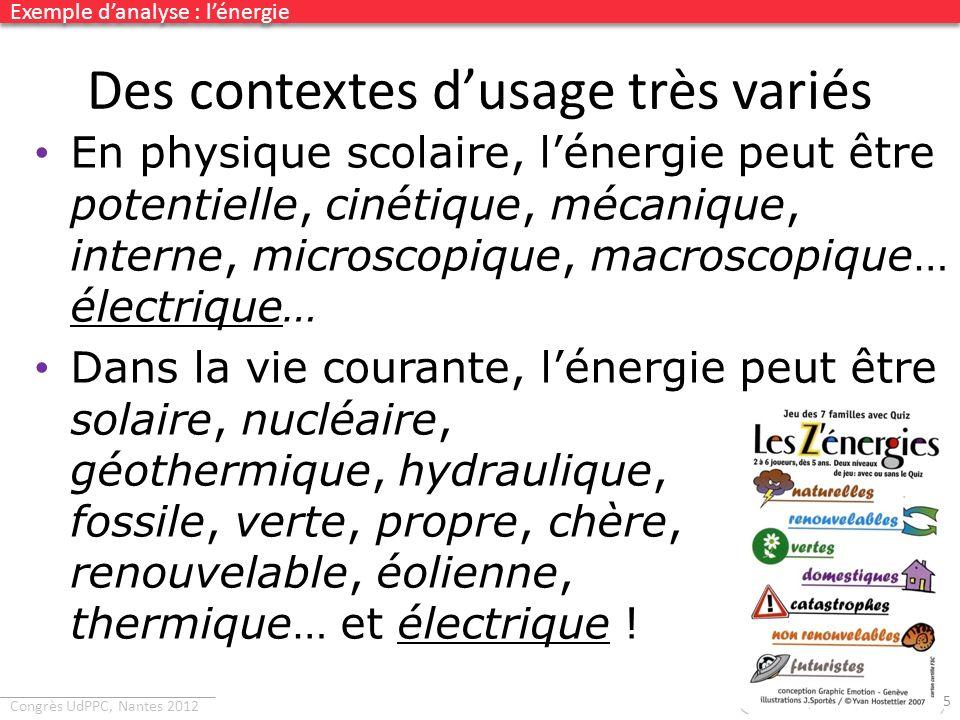 Congrès UdPPC, Nantes 2012 Des contextes dusage très variés 45 En physique scolaire, lénergie peut être potentielle, cinétique, mécanique, interne, mi