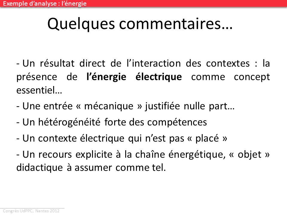 Congrès UdPPC, Nantes 2012 Quelques commentaires… - Un résultat direct de linteraction des contextes : la présence de lénergie électrique comme concep