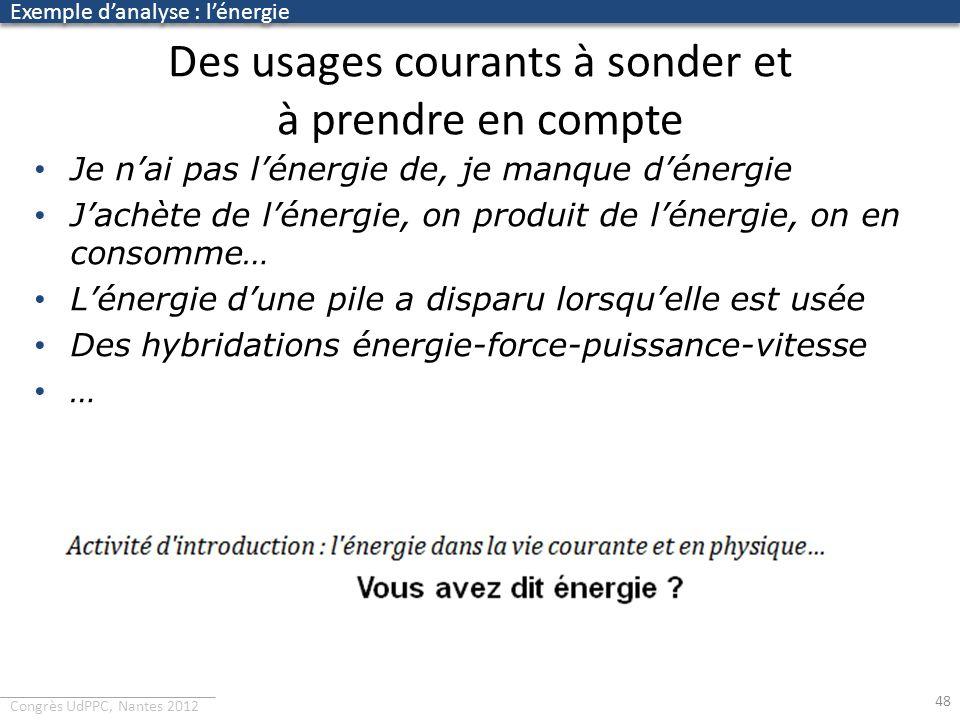 Congrès UdPPC, Nantes 2012 Des usages courants à sonder et à prendre en compte 48 Je nai pas lénergie de, je manque dénergie Jachète de lénergie, on p