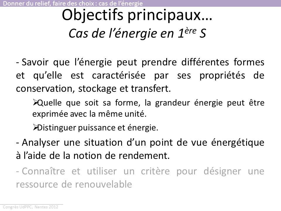 Congrès UdPPC, Nantes 2012 Objectifs principaux… Cas de lénergie en 1 ère S - Savoir que lénergie peut prendre différentes formes et quelle est caract