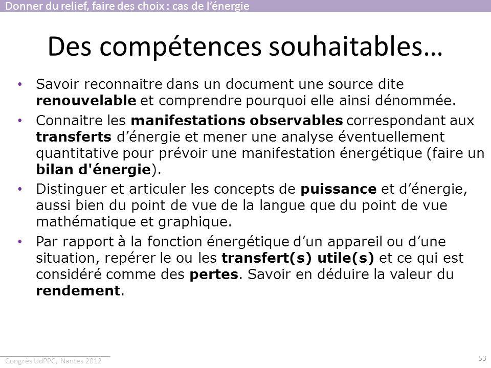 Congrès UdPPC, Nantes 2012 Des compétences souhaitables… 53 Savoir reconnaitre dans un document une source dite renouvelable et comprendre pourquoi el