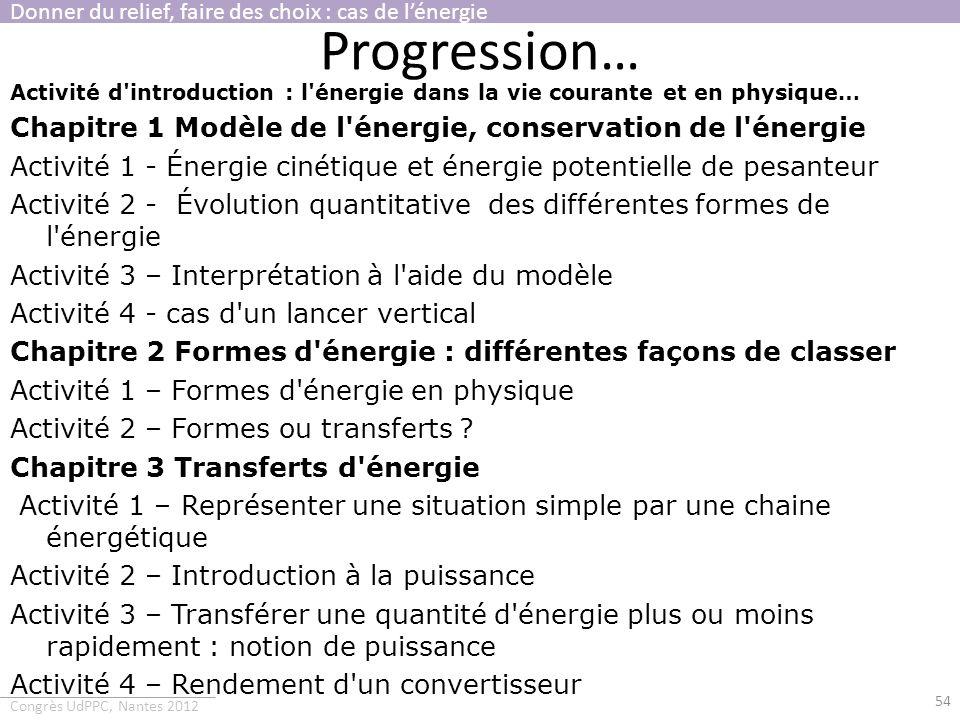 Congrès UdPPC, Nantes 2012 Progression… Activité d'introduction : l'énergie dans la vie courante et en physique… Chapitre 1 Modèle de l'énergie, conse