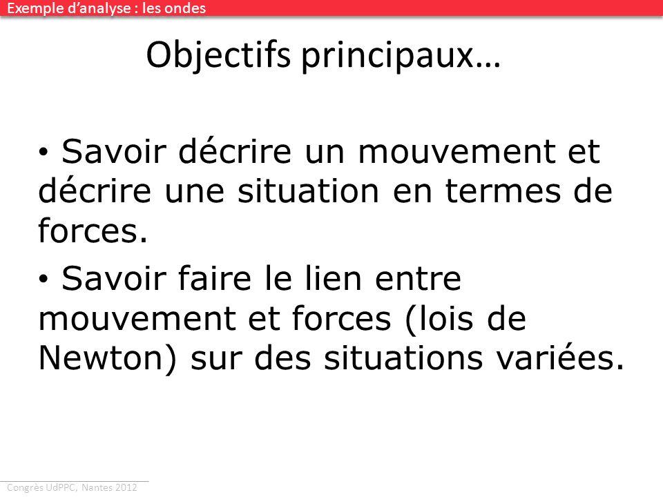 Congrès UdPPC, Nantes 2012 Objectifs principaux… Savoir décrire un mouvement et décrire une situation en termes de forces. Savoir faire le lien entre