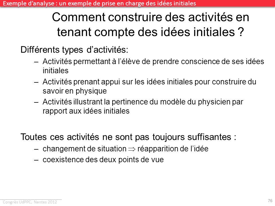 Congrès UdPPC, Nantes 2012 Comment construire des activités en tenant compte des idées initiales ? Différents types dactivités: –Activités permettant