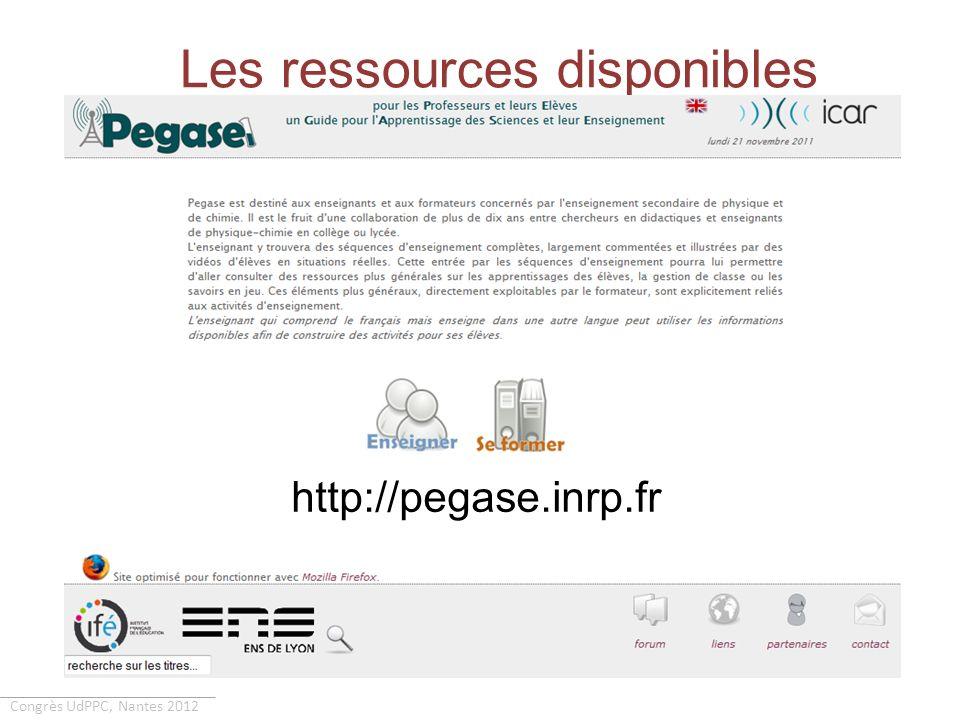 Congrès UdPPC, Nantes 2012 Les ressources disponibles Les documents destinés aux élèves - Partie n (activités)- Exercices de la partie n Les documents