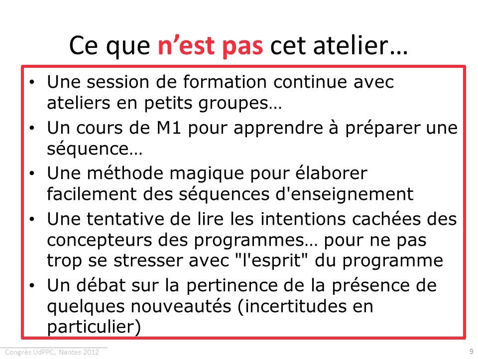 Congrès UdPPC, Nantes 2012 Ce quaurait pu être cet atelier… Une session de travail en petits groupes pour confronter les approches et faire fonctionner quelques outils proposés… Un forum de discussion sur les difficultés de mise en œuvre des programmes de 1 ère S et TS… 10