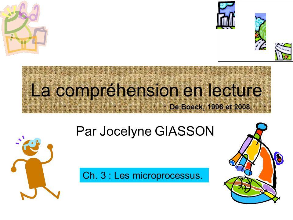 La compréhension en lecture Par Jocelyne GIASSON Ch. 3 : Les microprocessus. De Boeck, 1996 et 2008.