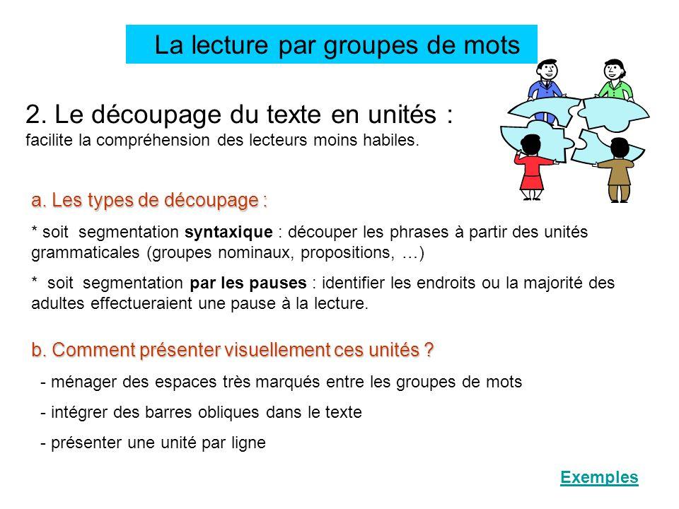La lecture par groupes de mots 2. Le découpage du texte en unités : facilite la compréhension des lecteurs moins habiles. a. Les types de découpage :