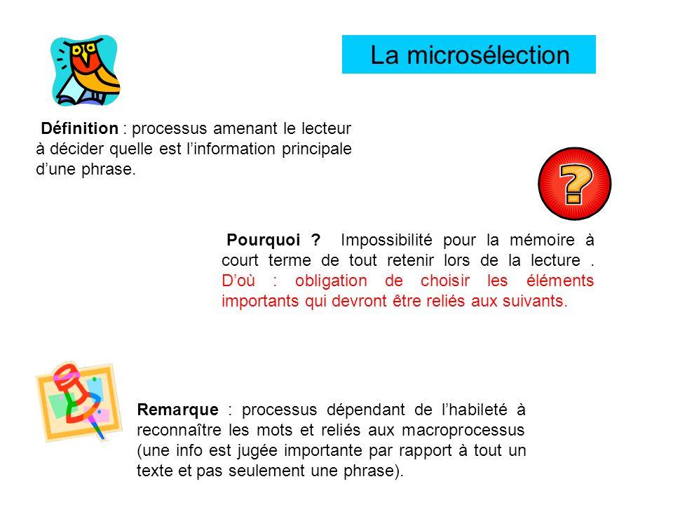 La microsélection Définition : processus amenant le lecteur à décider quelle est linformation principale dune phrase. Remarque : processus dépendant d