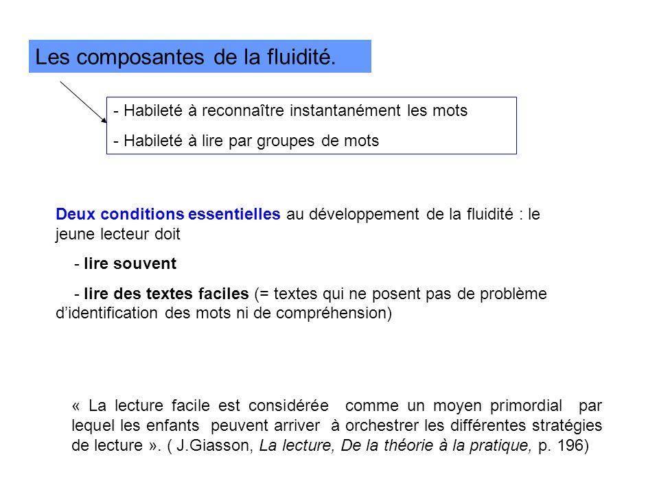 Les composantes de la fluidité. - Habileté à reconnaître instantanément les mots - Habileté à lire par groupes de mots Deux conditions essentielles au