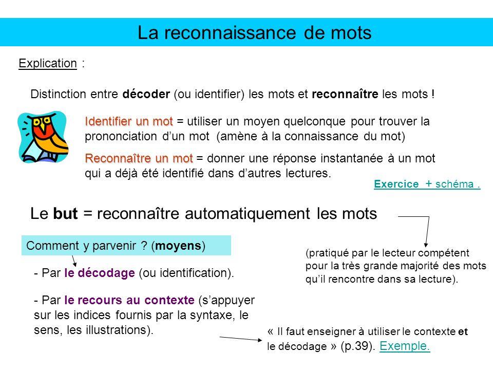 La reconnaissance de mots Explication : Distinction entre décoder (ou identifier) les mots et reconnaître les mots ! Identifier un mot Identifier un m