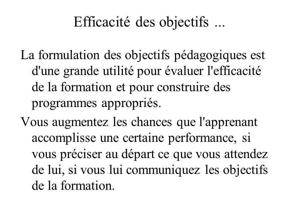 Efficacité des objectifs... La formulation des objectifs pédagogiques est d'une grande utilité pour évaluer l'efficacité de la formation et pour const