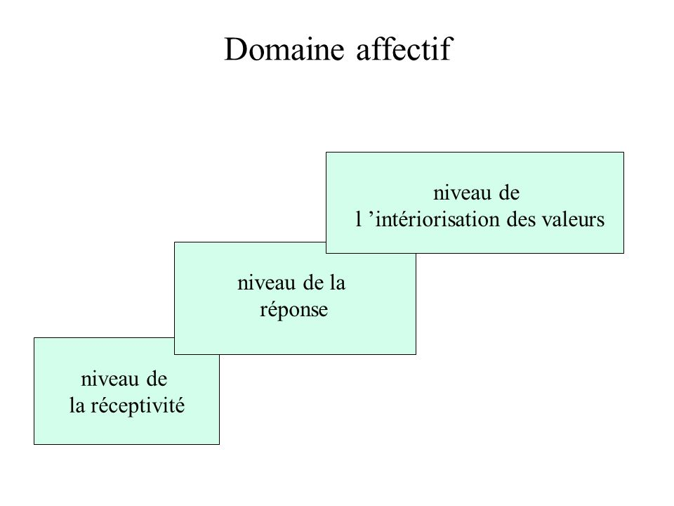 Domaine affectif niveau de la réceptivité niveau de la réponse niveau de l intériorisation des valeurs
