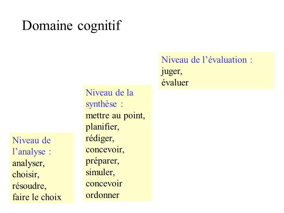 Domaine cognitif Niveau de lanalyse : analyser, choisir, résoudre, faire le choix Niveau de la synthèse : mettre au point, planifier, rédiger, concevoir, préparer, simuler, concevoir ordonner Niveau de lévaluation : juger, évaluer