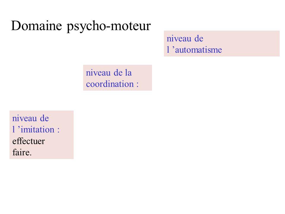 Domaine psycho-moteur niveau de l imitation : effectuer faire. niveau de la coordination : niveau de l automatisme