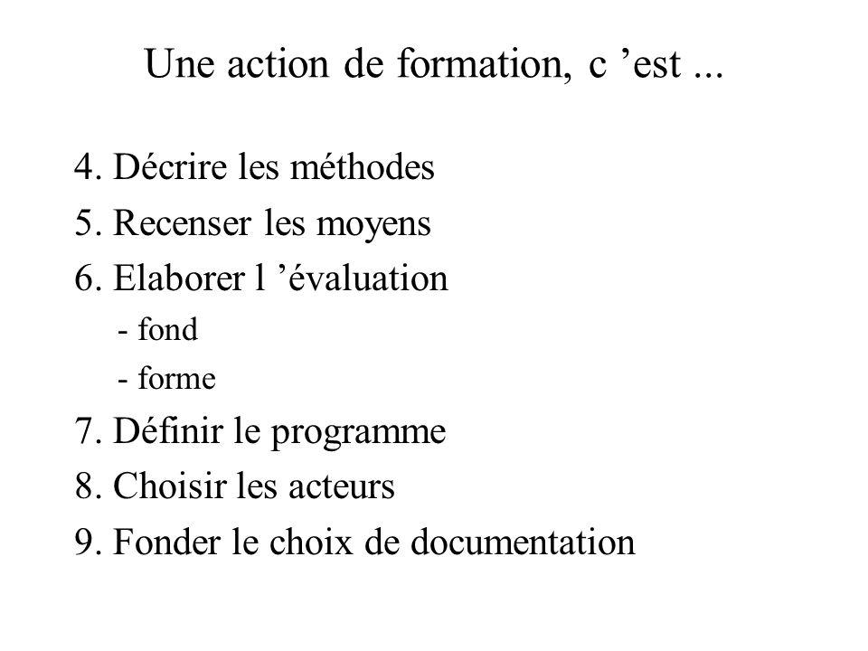 Une action de formation, c est... 4. Décrire les méthodes 5. Recenser les moyens 6. Elaborer l évaluation - fond - forme 7. Définir le programme 8. Ch