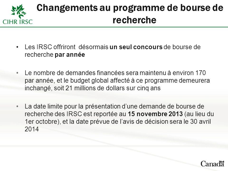Changements au programme de bourse de recherche Les IRSC offriront désormais un seul concours de bourse de recherche par année Le nombre de demandes financées sera maintenu à environ 170 par année, et le budget global affecté à ce programme demeurera inchangé, soit 21 millions de dollars sur cinq ans La date limite pour la présentation dune demande de bourse de recherche des IRSC est reportée au 15 novembre 2013 (au lieu du 1er octobre), et la date prévue de lavis de décision sera le 30 avril 2014