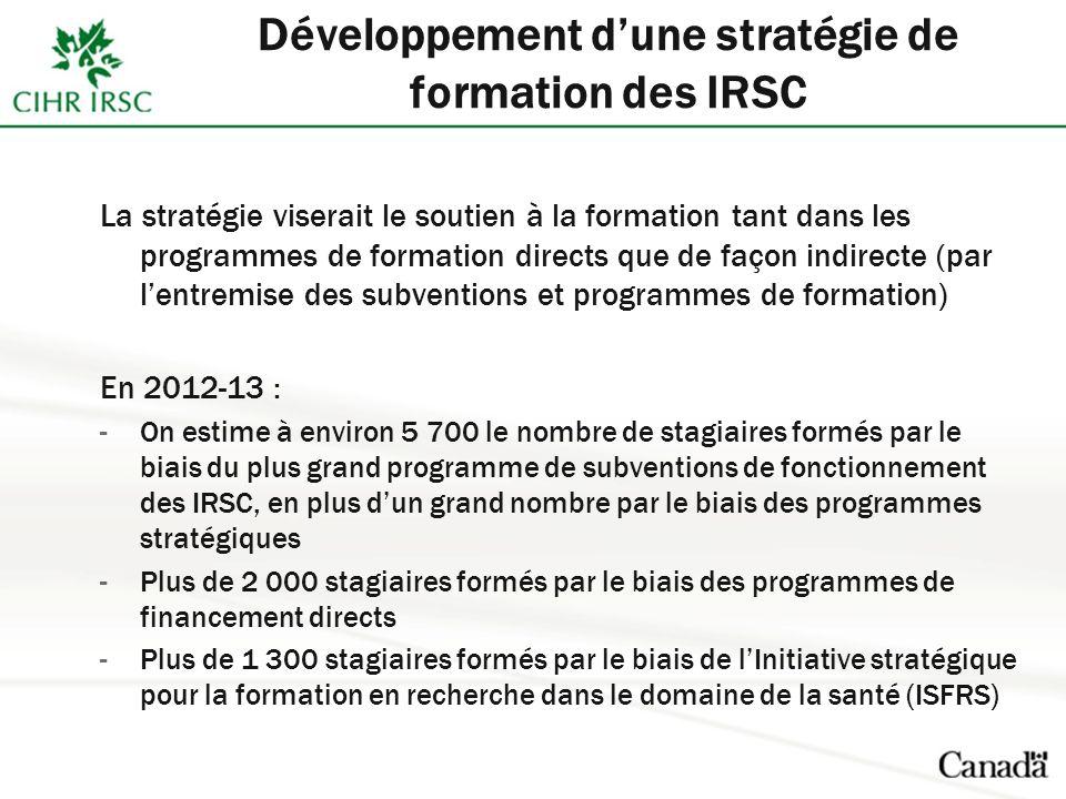 La stratégie viserait le soutien à la formation tant dans les programmes de formation directs que de façon indirecte (par lentremise des subventions et programmes de formation) En 2012-13 : -On estime à environ 5 700 le nombre de stagiaires formés par le biais du plus grand programme de subventions de fonctionnement des IRSC, en plus dun grand nombre par le biais des programmes stratégiques -Plus de 2 000 stagiaires formés par le biais des programmes de financement directs -Plus de 1 300 stagiaires formés par le biais de lInitiative stratégique pour la formation en recherche dans le domaine de la santé (ISFRS)