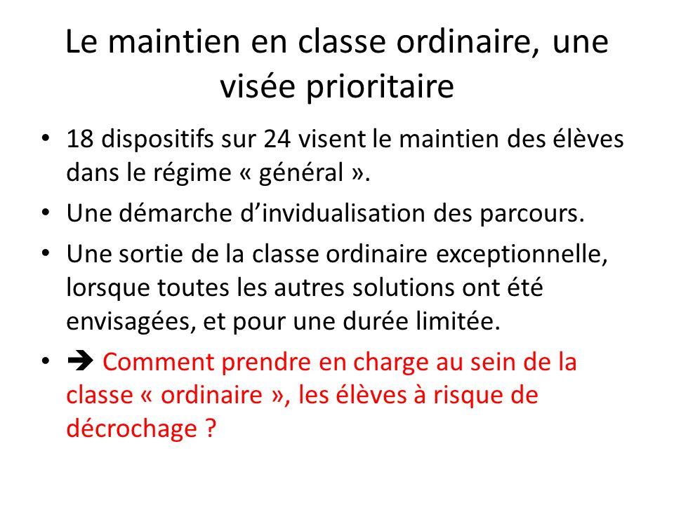 Le maintien en classe ordinaire, une visée prioritaire 18 dispositifs sur 24 visent le maintien des élèves dans le régime « général ». Une démarche di