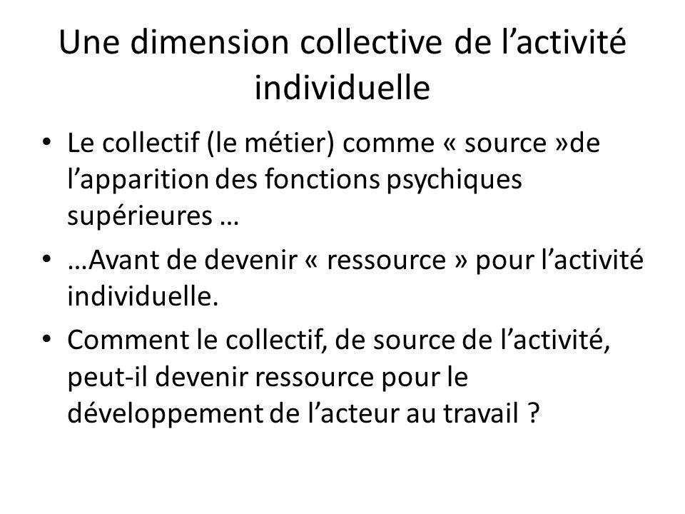 Une dimension collective de lactivité individuelle Le collectif (le métier) comme « source »de lapparition des fonctions psychiques supérieures … …Ava