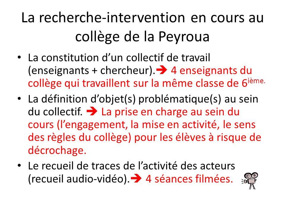 La recherche-intervention en cours au collège de la Peyroua La constitution dun collectif de travail (enseignants + chercheur). 4 enseignants du collè