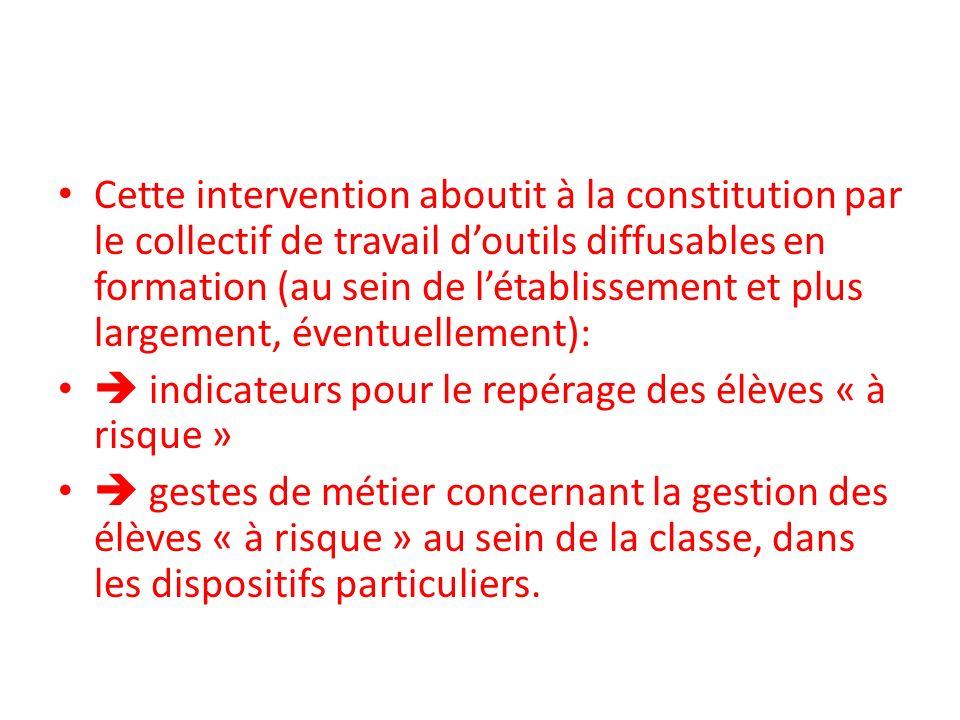 Cette intervention aboutit à la constitution par le collectif de travail doutils diffusables en formation (au sein de létablissement et plus largement