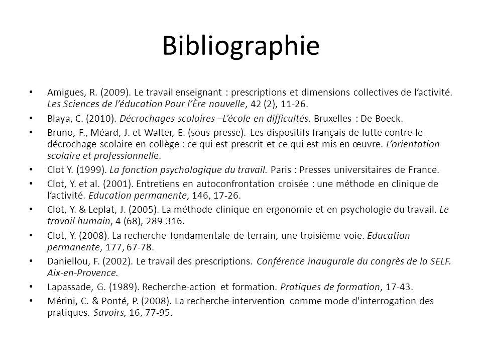 Bibliographie Amigues, R. (2009). Le travail enseignant : prescriptions et dimensions collectives de lactivité. Les Sciences de léducation Pour lÈre n