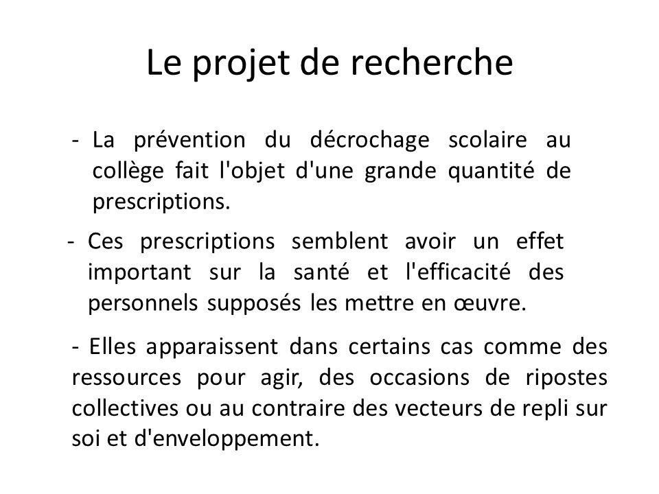 Le projet de recherche -La prévention du décrochage scolaire au collège fait l'objet d'une grande quantité de prescriptions. -Ces prescriptions semble
