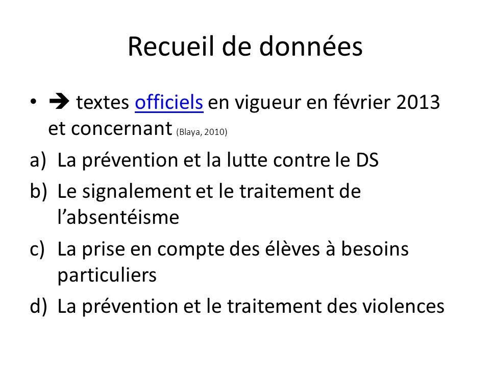 Recueil de données textes officiels en vigueur en février 2013 et concernant (Blaya, 2010)officiels a)La prévention et la lutte contre le DS b)Le sign