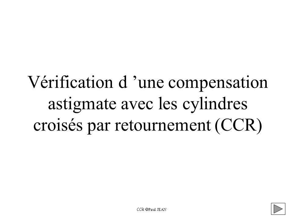 Vérification d une compensation astigmate avec les cylindres croisés par retournement (CCR) CCR Paul JEAN