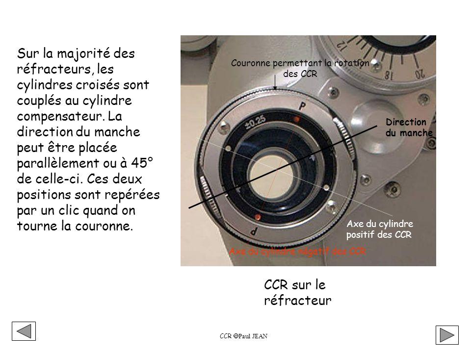 Vérification de l axe de la compensation astigmate trouvée Exemple vu au mires chevrons: La compensation à la fin de ce test, après réajustement de la sphère est - 1,50 ( - 1,00 ) 22° CCR Paul JEAN