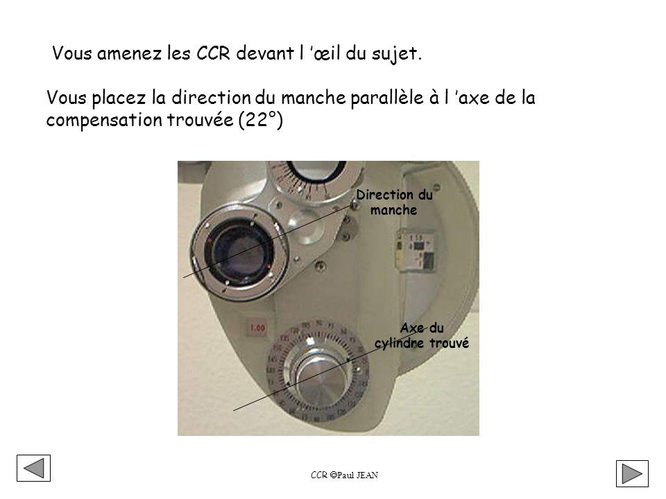 CCR Paul JEAN Si au cours de cette vérification vous avez modifié l axe ou la puissance du cylindre, il vous faut réajuster la sphère.