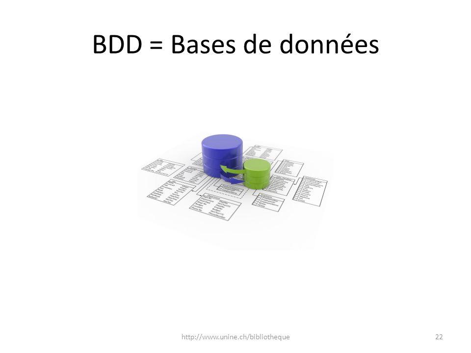 BDD = Bases de données 22http://www.unine.ch/bibliotheque