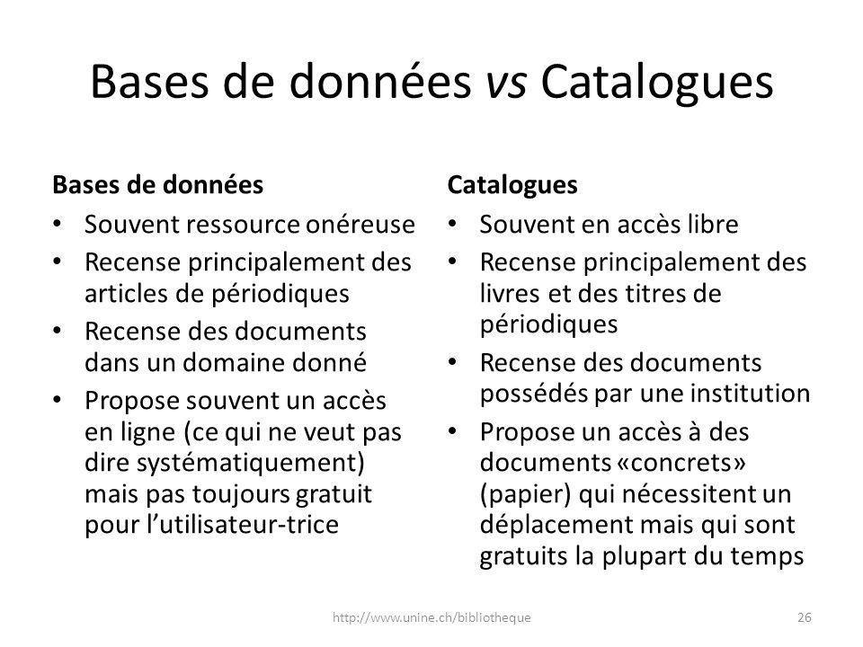 Bases de données vs Catalogues Bases de données Souvent ressource onéreuse Recense principalement des articles de périodiques Recense des documents da