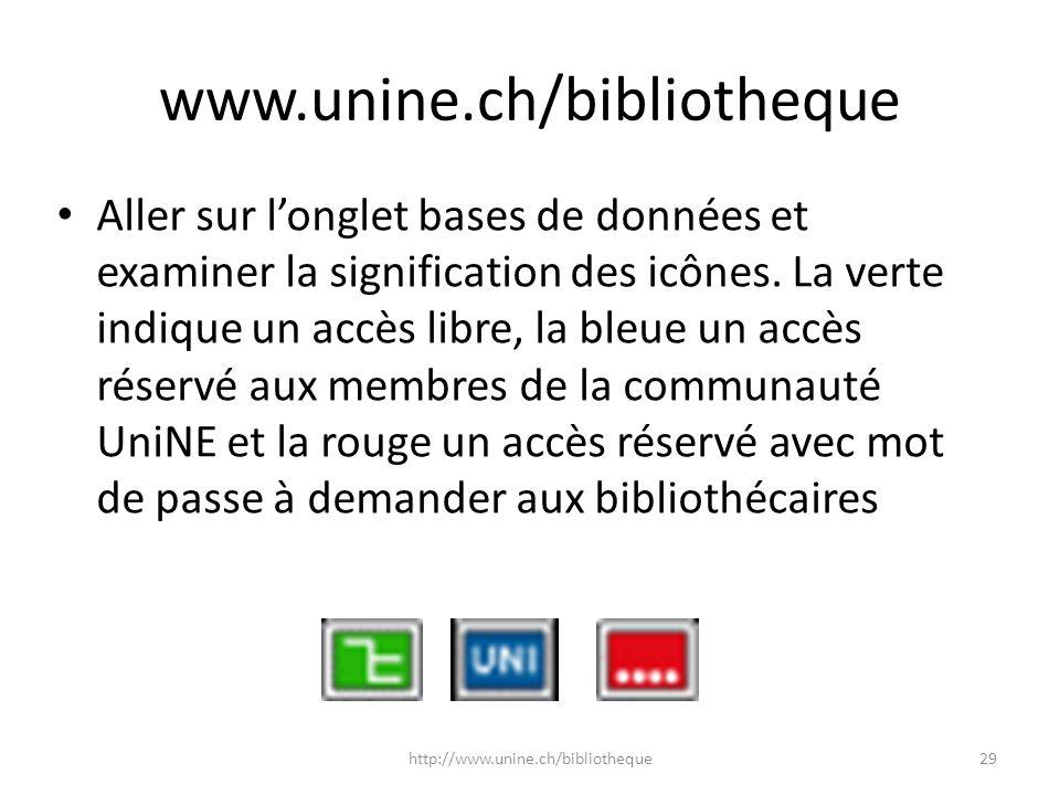 www.unine.ch/bibliotheque Aller sur longlet bases de données et examiner la signification des icônes. La verte indique un accès libre, la bleue un acc