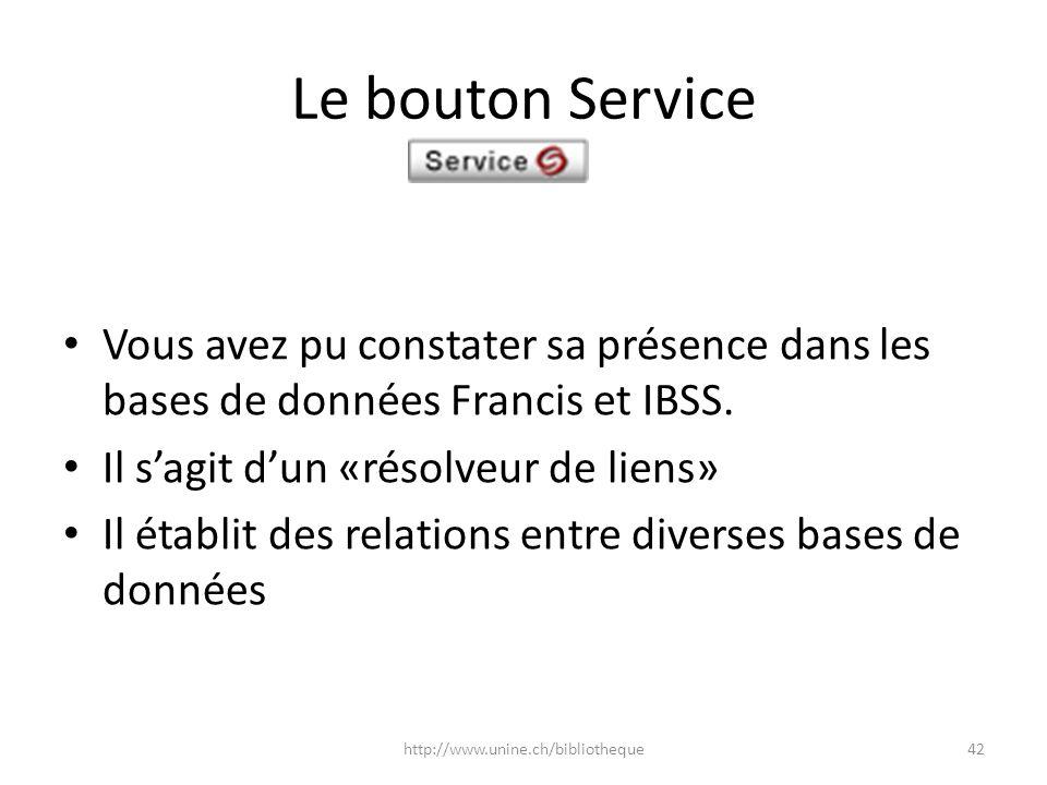 Le bouton Service Vous avez pu constater sa présence dans les bases de données Francis et IBSS. Il sagit dun «résolveur de liens» Il établit des relat
