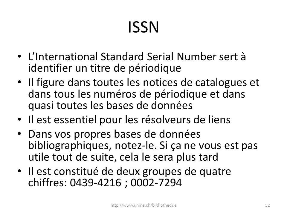 ISSN LInternational Standard Serial Number sert à identifier un titre de périodique Il figure dans toutes les notices de catalogues et dans tous les n